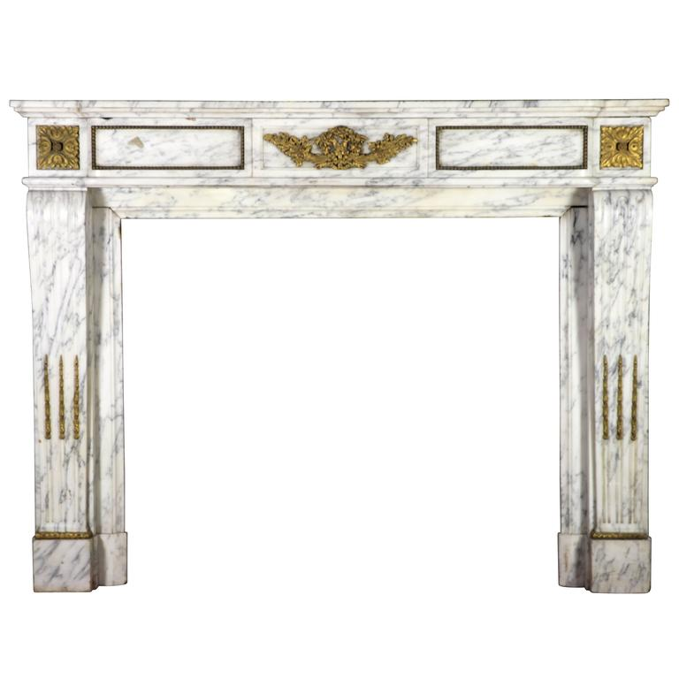 19th Century Carrara Marble Fireplace Mantel in the Style of Louis XVI
