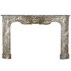 18th Century Antique Fireplace Mantel in Belgian Brown-Grey Marble