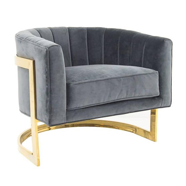 Art Deco Styled Armchair with Brass Frame 1