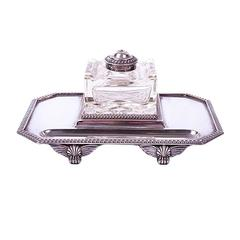 Early 20th Century Sheffield Silver Plate Ink Stand by Walker & Hall