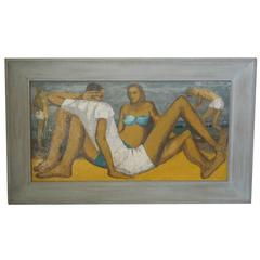 "Spectacular Large Mid-Century Modern Painting ""On the Beach"""