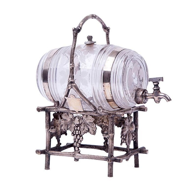 19th Century Etched Glass Liquor Barrel on a Silver Plated Stand For Sale