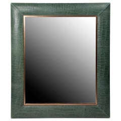 Vintage Thyme Embossed Croc Leather Framed Mirror with Bronze Detailing