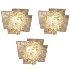 Set of Three Glass Ceiling Lights by Poliarte, Italy, 1960s-1970s