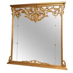 Large Sized, Victorian Giltwood Overmantle Mirror, with Scrolling Pediment