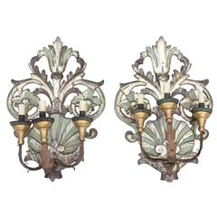Pair of Silver Gilt and Painted Italian, 19th Century, Three-Arm Sconces
