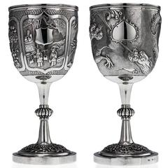Rare Chinese Export Solid Silver Pair of Goblets, Wang Hing, circa 1880