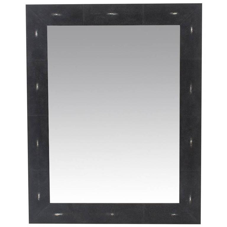Genuine Black Shagreen Rectangular Mirror For Sale at 1stdibs