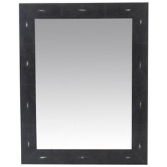 Genuine Shagreen Rectangular Black Mirror
