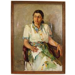 Fantastic Oil on Canvas Painting of a Seated Woman with Distinctive Look
