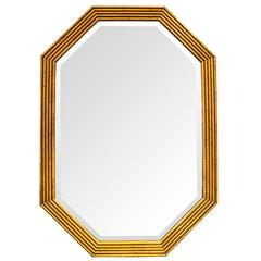 Octagonal Gilded Faux Bamboo Mirror
