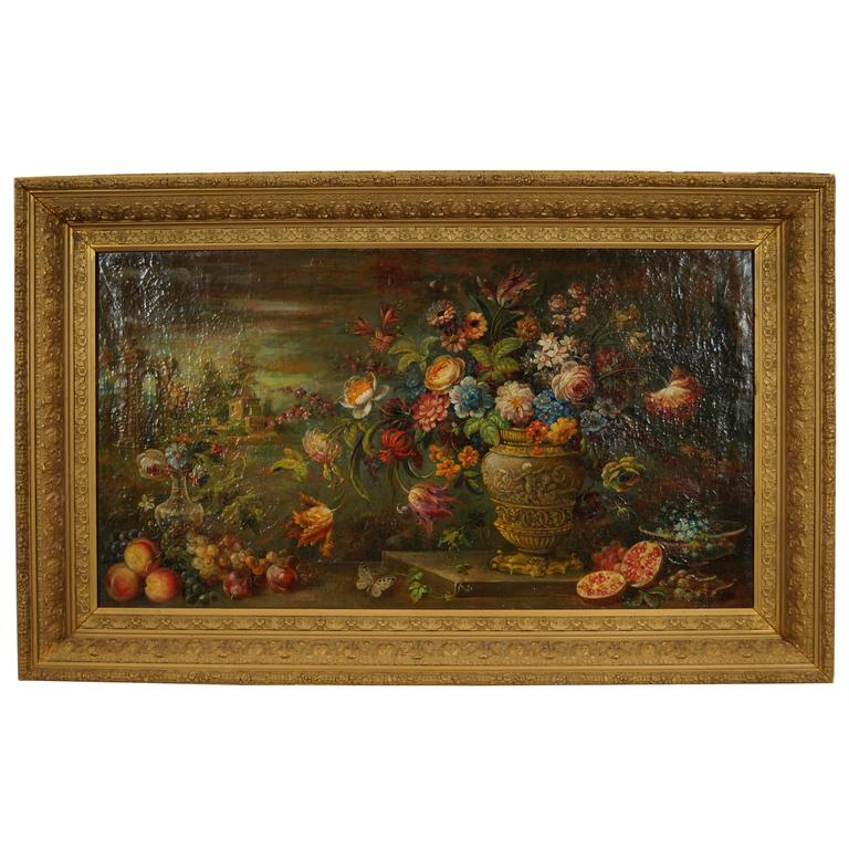 Still Life Oil on Canvas Painting with Flower Decorations