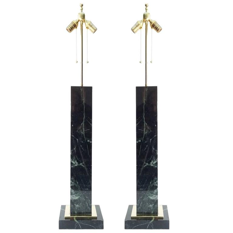 Monumental Pair of Vermont Verde Green Marble and Brass Lamps