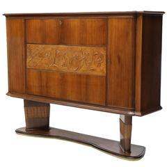 Mid century Modern Italian Sculptural Dry Bar Cabinet by Vittorio Dassi
