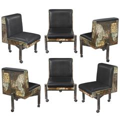 Set of Six Patchwork Dining Chairs by Paul Evans