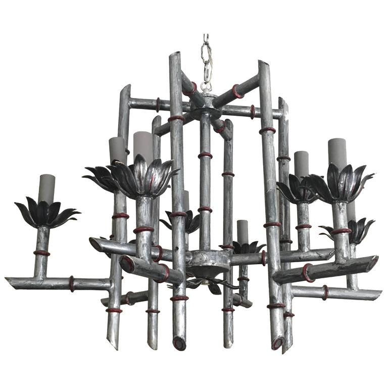 Silver Chinoiserie Faux Bamboo Chandelier
