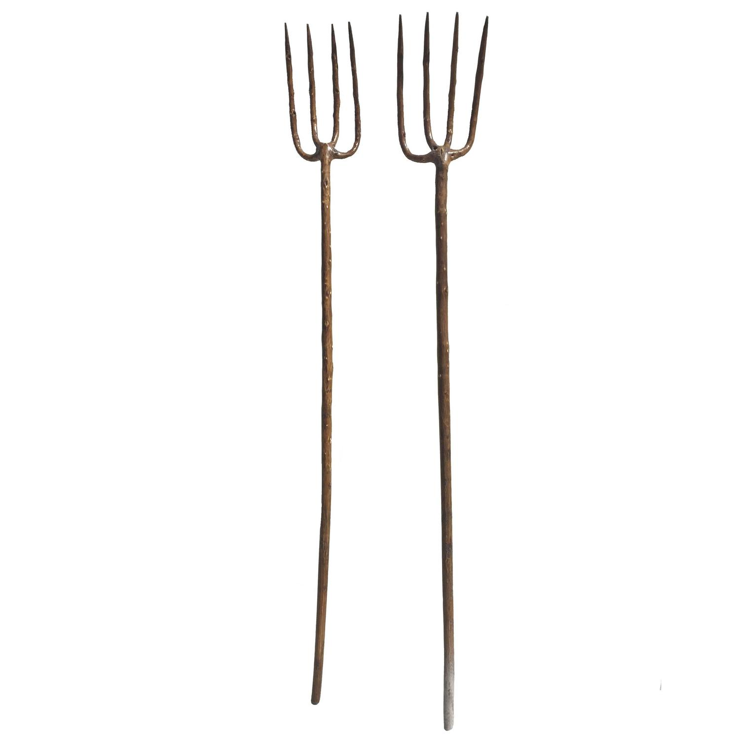 Set of two farm tools wooden pitchforks for sale at 1stdibs for Pitchfork tool for sale