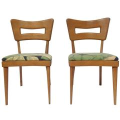 "Pair of Mid Century Modern Heywood-Wakefield ""Dog-Biscuit"" Dining Chairs, 1950's"