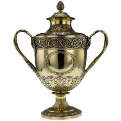 Antique Georgian Solid Silver Gilt Two Handled Cup and Cover, London, circa 1817