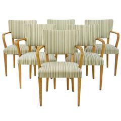 Harlequin Set of Six Swedish Oak 1960s Armchairs by Atvidabergs