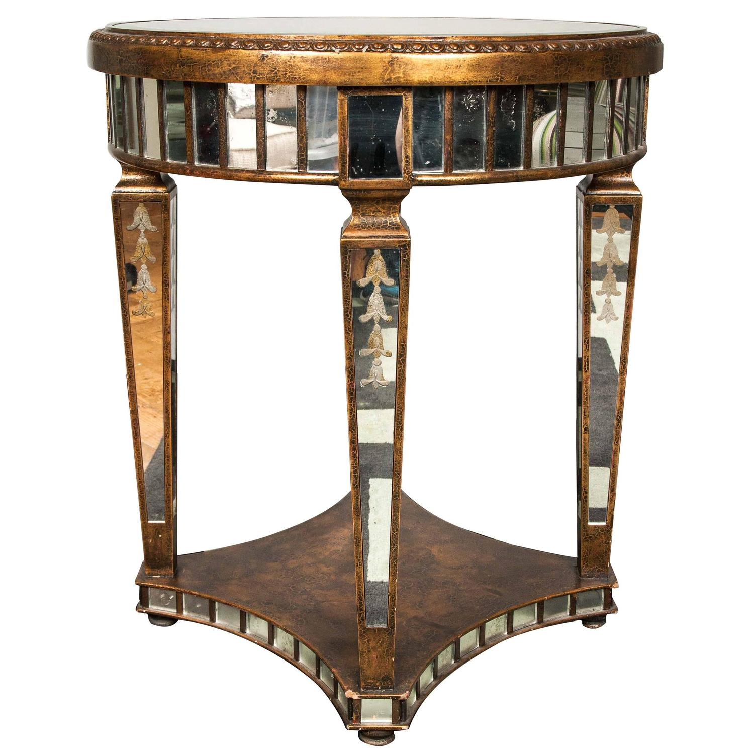 Ornate Etched Round Mirrored Table With Tapered Legs For