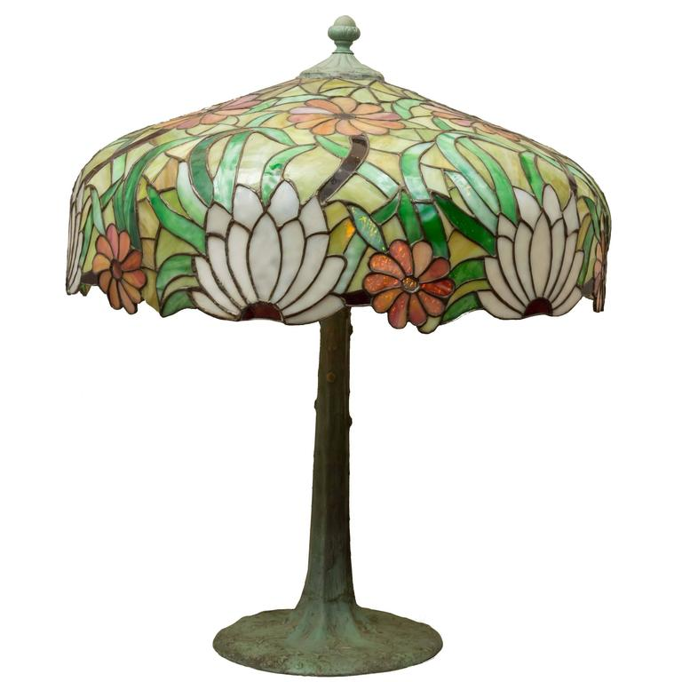 Large Leaded Glass Table Lamp, circa 1910 by the Miller ...
