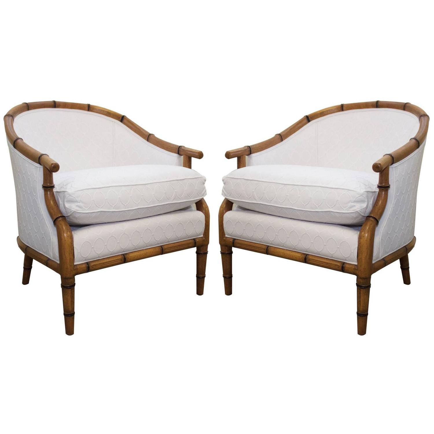 Pair Of Faux Bamboo Chairs By Century Furniture At 1stdibs