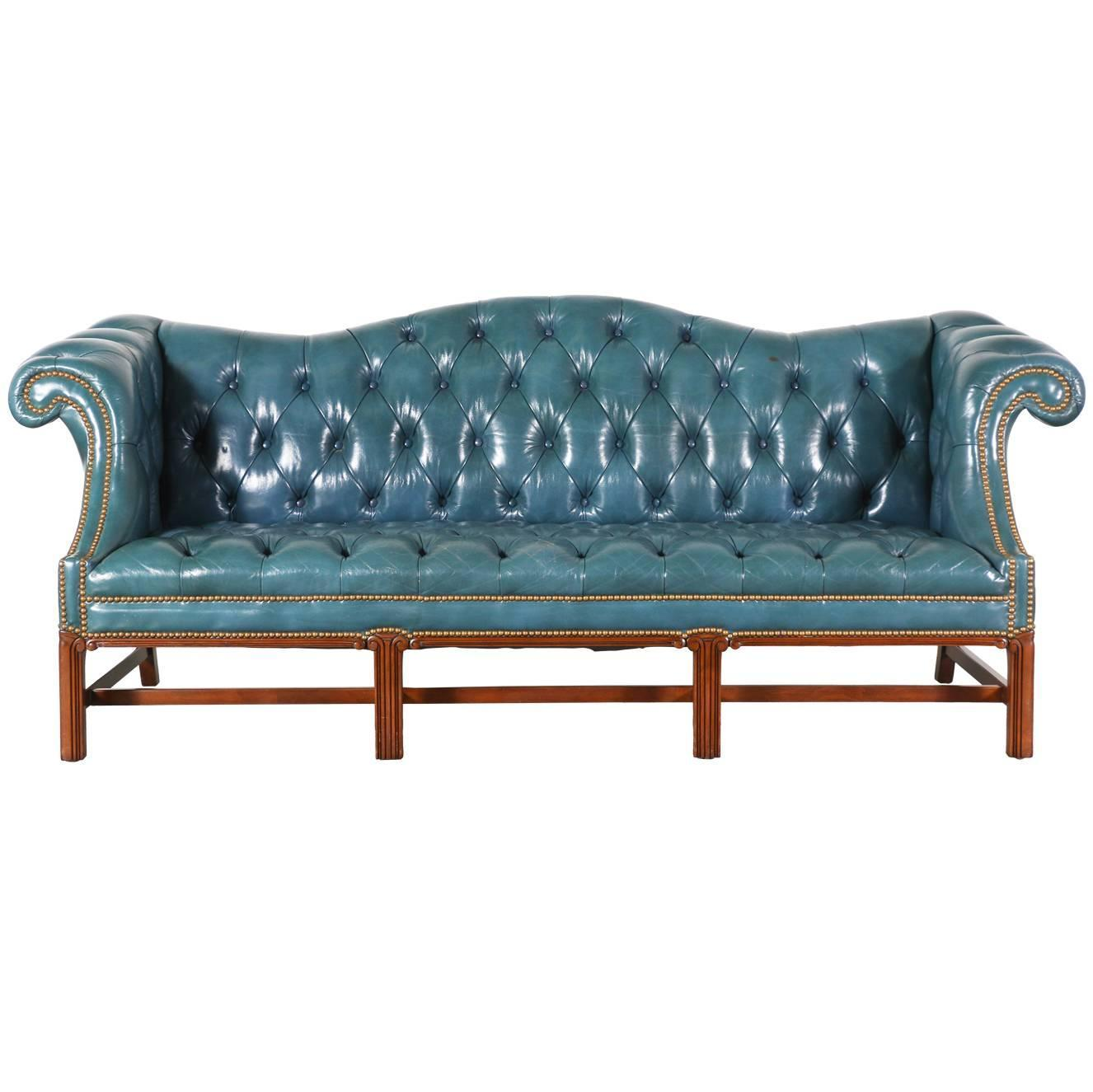 Vintage english leather teal blue chesterfield sofa at 1stdibs for Teal leather couch