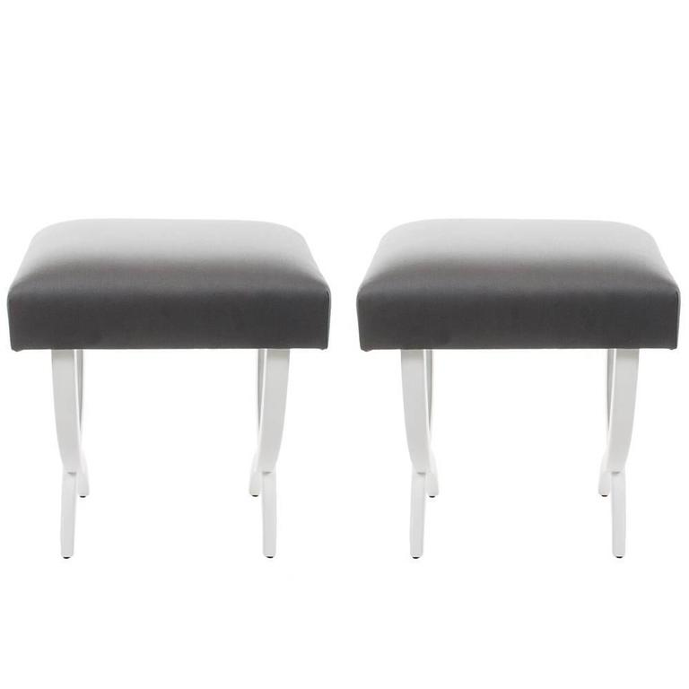 Pair of Stools with Lacquered Wood Frame and Gray Silk Fabric