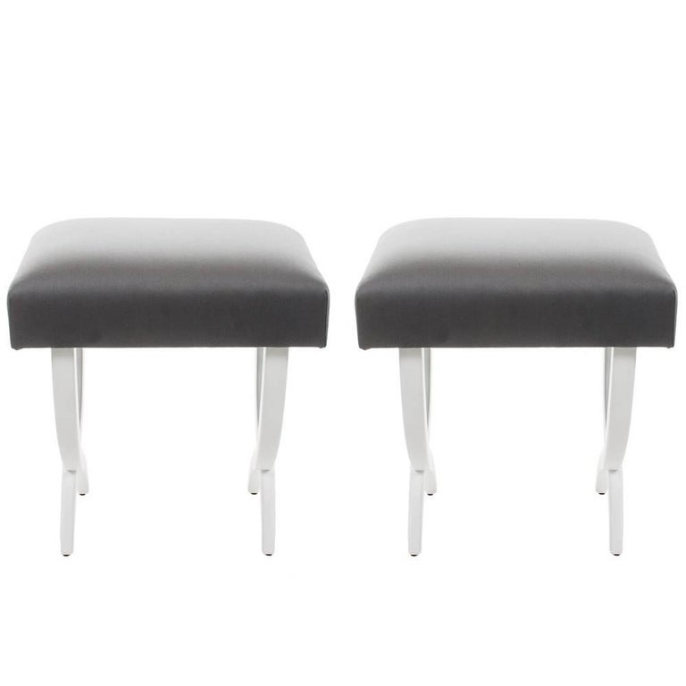 Pair of Stools with Lacquered Wood Frame and Gray Silk Fabric For Sale