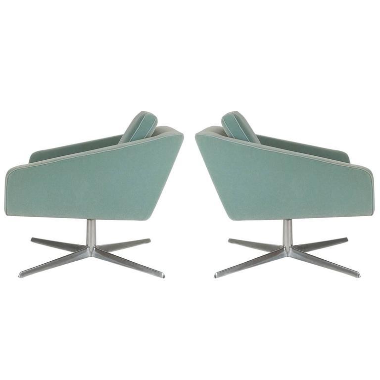 Italian Modern Swivel Lounge Chairs In Velvet After