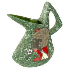 Stunning & Rare Ceramic San Marino Italian Art Pottery Watering Can / Jug / Vase