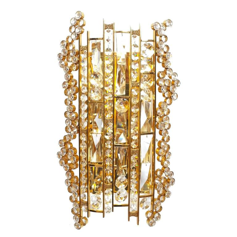 Large Crystal Wall Sconces : Large Gilt Brass and Crystal Sconce by Palwa at 1stdibs