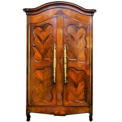 French 18th Century Cherrywood Bonnet Top Armoire, circa 1750