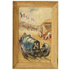 Vintage Car Racing Scene Painting by C. Rosby
