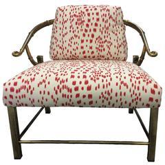 Mastercraft Brass Horseshoe Brunschwig Les Touches Upholstered Chair