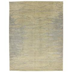 Champagne Vanilla Transitional Rug with Contemporary Abstract Style