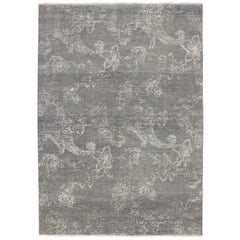 New Contemporary Gray Rug with Abstract Design and Modern Style