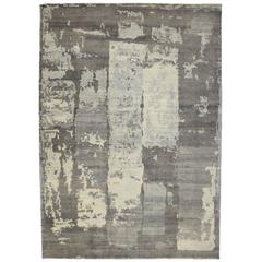 New Modern Gray Area Rug with Contemporary Abstract Paint Strokes