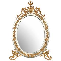 Italian 19th Century Louis XVI Style Ormolu and Silvered Bronze Vanity Mirror