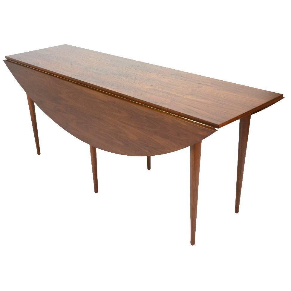Walnut oval drop leaf dining table at 1stdibs for Dining room table replacement leaf