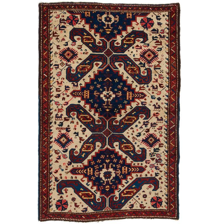 """""""Art On The Floor,"""" Cheerful Antique Caucasian Seichur Rug"""