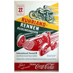 Original Vintage Car and Motorcycle Racing Poster - Ruhrland Rennen 1954 Germany