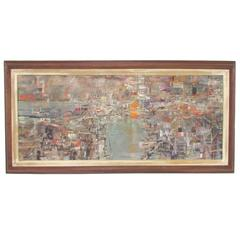 Abstract Modernist Harbor Scene Oil Painting Signed Clark, Dated 1956
