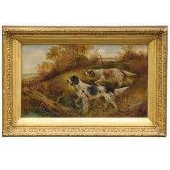 Victorian Oil Painting of Sporting Dogs by Charles Dudley, Mid 19th Century
