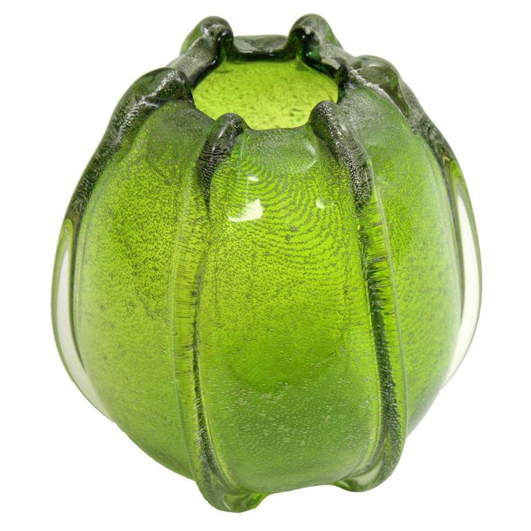 Archimede Seguso Pulegoso Green Murano Art Glass Ovoid Vase