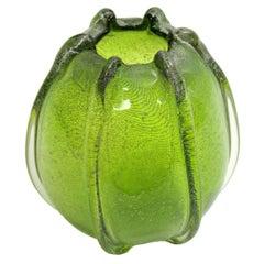 Italian 1950s Archimede Seguso Pulegoso Green Murano Glass Ovoid Vase