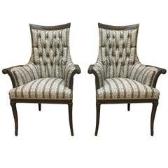 Pair of Striking Hollywood Regency Style Faux Snakeskin Armchairs