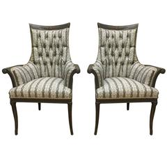 Pair of Striking Hollywood Regency Style Faux Snakeskin Armchairs