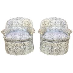Cool Pair of Faux Snakeskin Swivel French Club Chairs